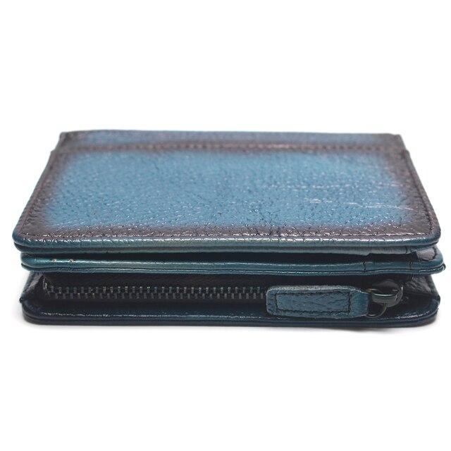 Doğal deri RFID engelleme erkek üst katman deri fırçalanmış cüzdan el yapımı Retro cüzdan saf deri deri bozuk para cüzdanı