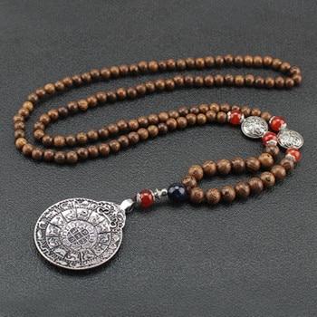 Collier n palais fait main bouddhiste Mala pendentif avec des perles de bois bijou en corne