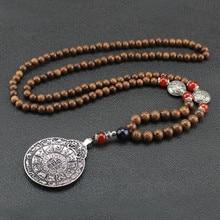 Nepal Necklace Pendant Buddhist-Mala Ethnic-Horn Wood-Beads Jewelry Women Vintage Handmade