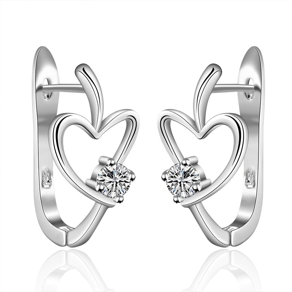 Toptan Gümüş Kaplama Küpe, Düğün Takı Aksesuarları, Moda Kalp Zirkon Kadınlar Gümüş Küpe Hediye