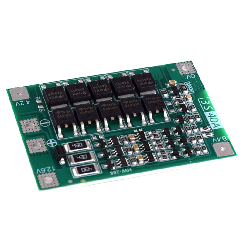 3S 40A Bms 11.1V 12.6V 18650 Lithium Battery Protection Board with Balanced Version for Drill 40A Current image