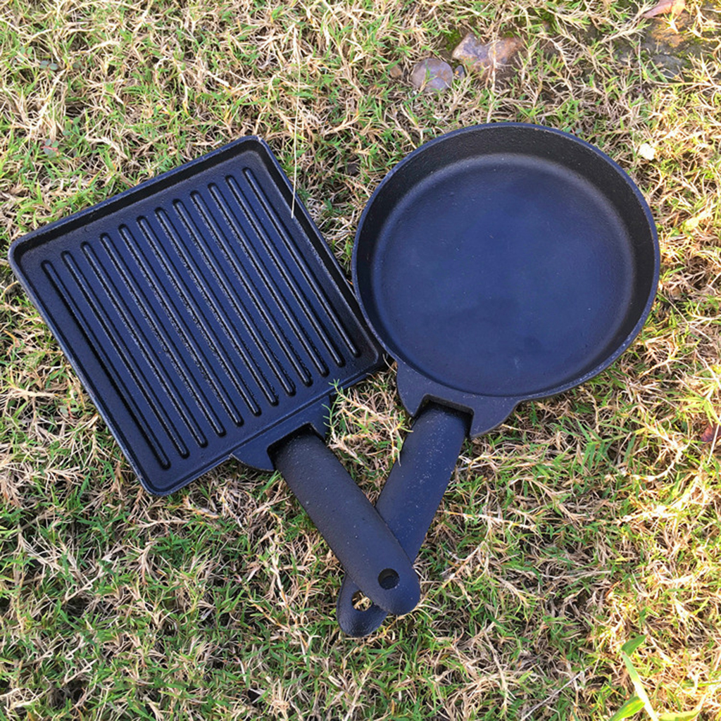 2pcs//set Small Cast Iron Camping Detachable Steak Frying Pan Carry Case