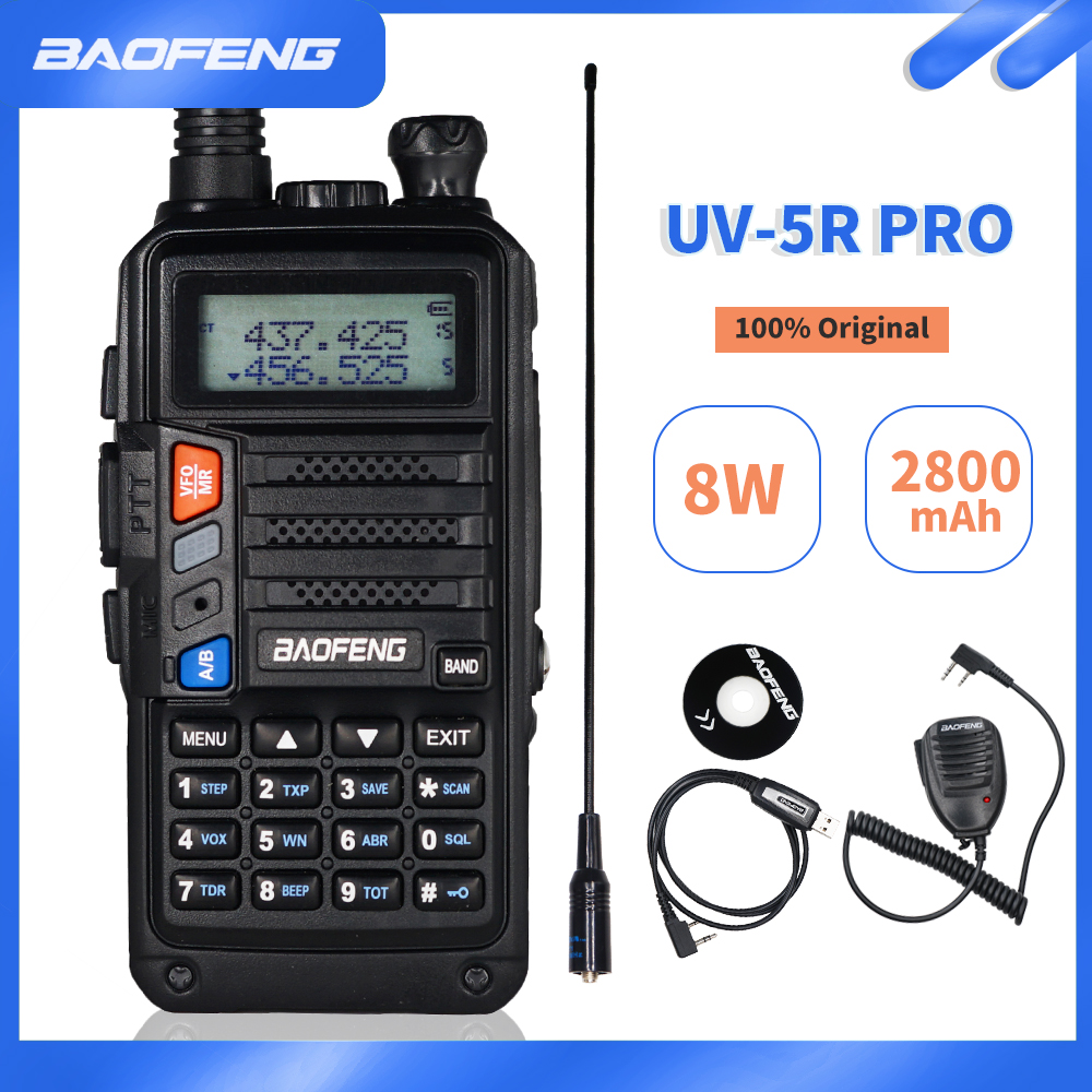 2020 BaoFeng UV-5R Pro Powerful Walkie Talkie 8W Dual Band CB Radio HF FM Transceiver UV 5R Portable Two Way Radio Upgrade UV5R