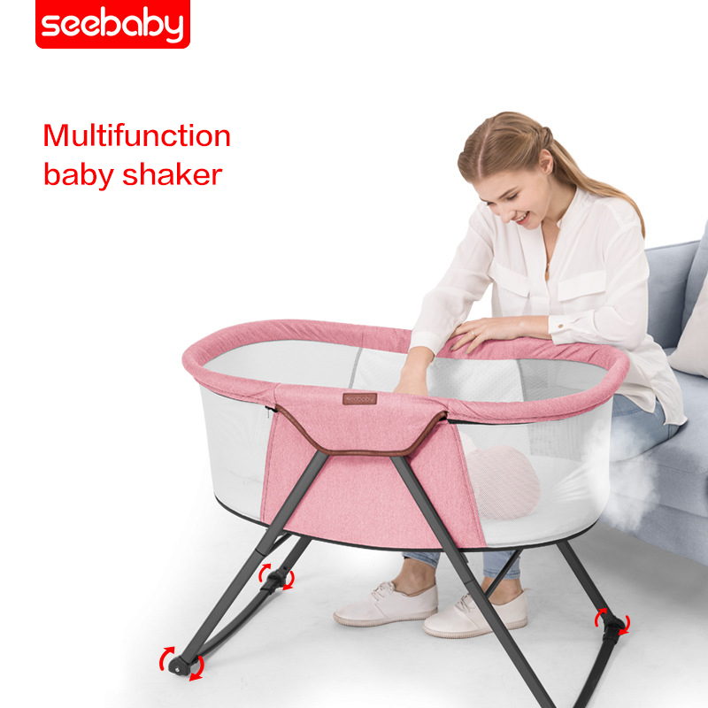 Seebaby 4 In1 Baby Shaker  Light Protable Baby Crib Infant  Baby Cardle Sleeping Basket Baby Nursery Nest WithMosquito Net