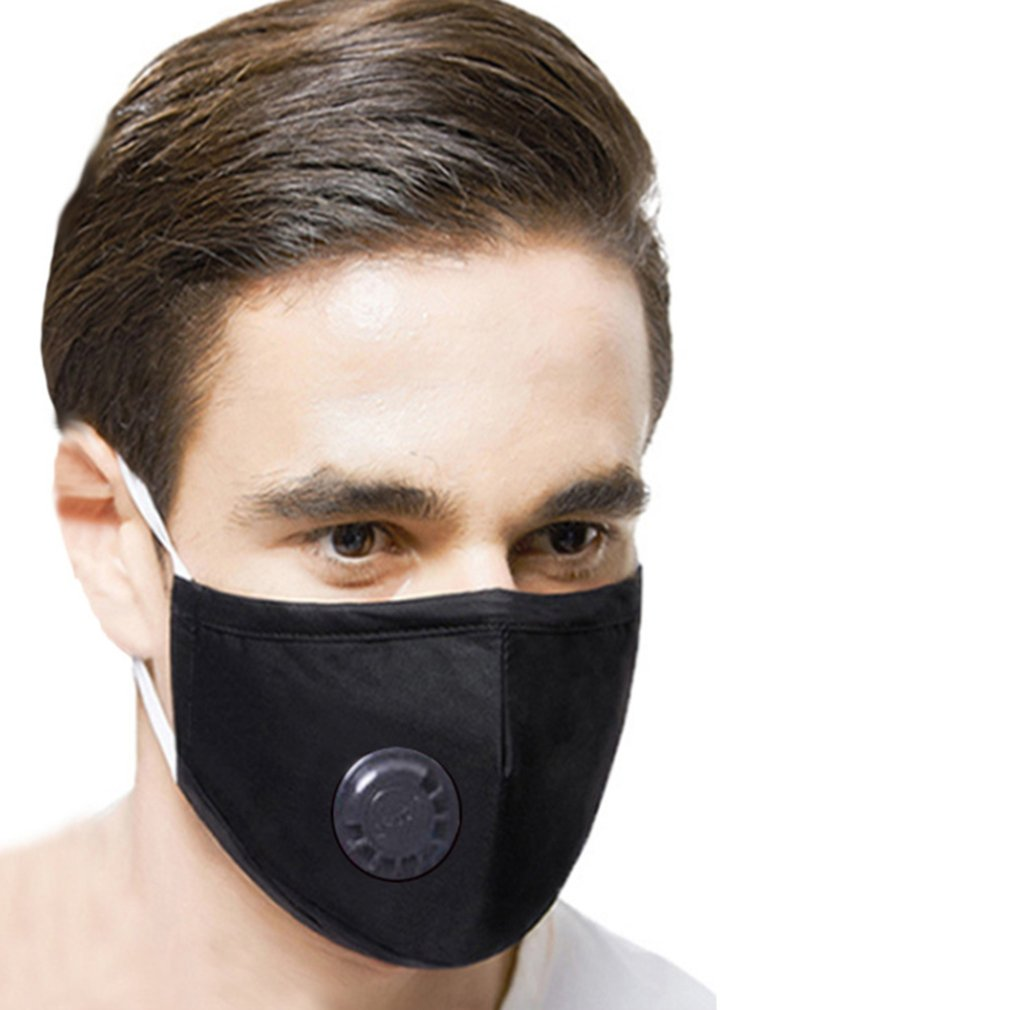 Fashion Unisex Cotton Breath Valve Pm2.5 Mouth Mask Anti-Dust Anti Pollution Mask Cloth Activated Carbon Filter Mask 1Pcs