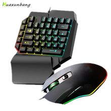 One-Handed Gaming Keyboard Mouse Set RGB Backlit Portable Mini Gaming Keypad Mice 39 Key Backlight Wired Keyboard PC Desktop