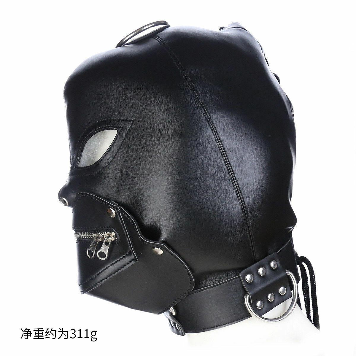 Leather Mask Hood Zipper mouth gag Halloween Full Gimp Open Eyes lockable slave