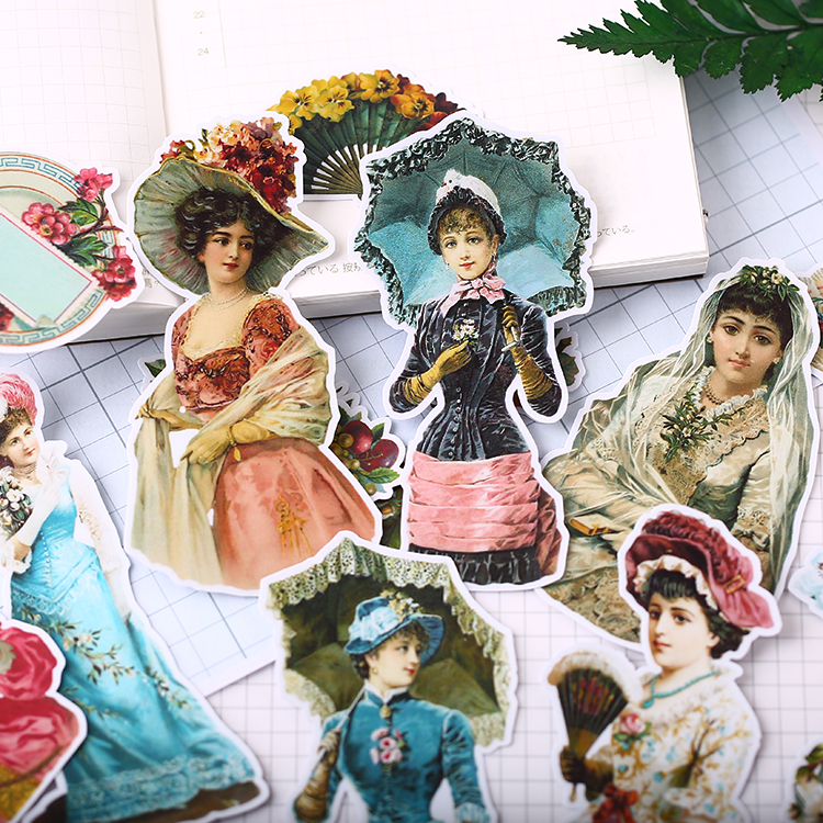 18 PCS Victorian Character Mini Stickers Crafts And Scrapbooking Stickers Book Student Label Decorative Sticker DIY Stationery