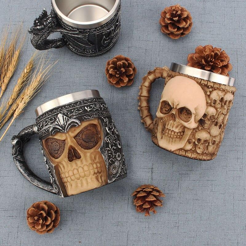 Criativo copo de café leite personalidade copo aço inoxidável grande capacidade escritório copo água 3d estéreo crânio caneca - 2