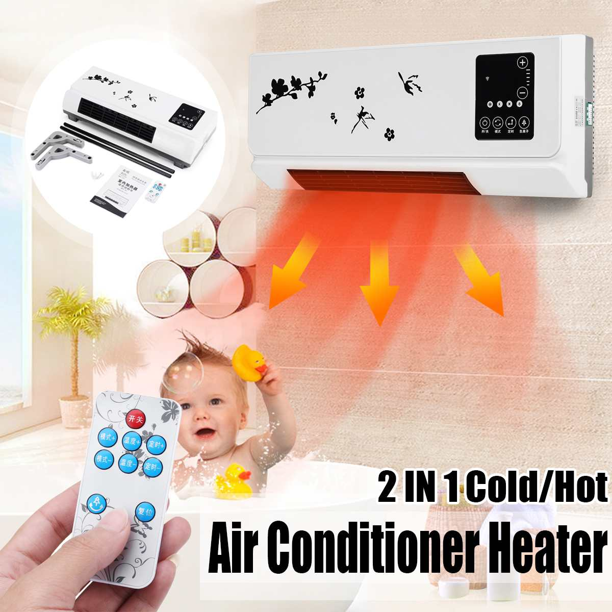 220V 2000W Wall mounted Remote Control Heater Home Energy Saving Heating Heating Fan Bathroom Air Conditioning Hot Air Heating|Electric Heaters| |  - title=