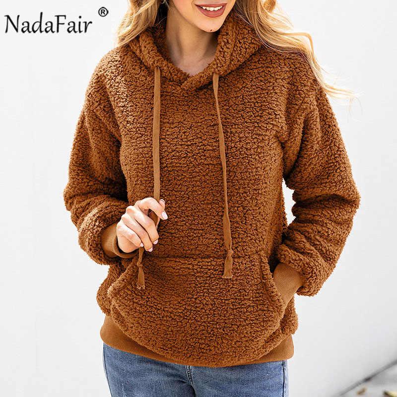 Nadafair Fluffy codzienna bluza z kapturem damska 2019 zima Faux Fur Pullover kieszenie solidna polarowa bluza z kapturem Hoody Ladies