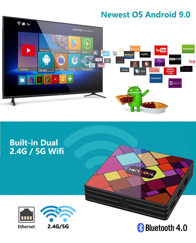 Android 9.0 HK1 สมาร์ททีวีกล่อง RK3318 Quad Core 4G/64G Dual WIFI BT IPTV Neflix youTube Google Player ชุด PK HK1 MAX
