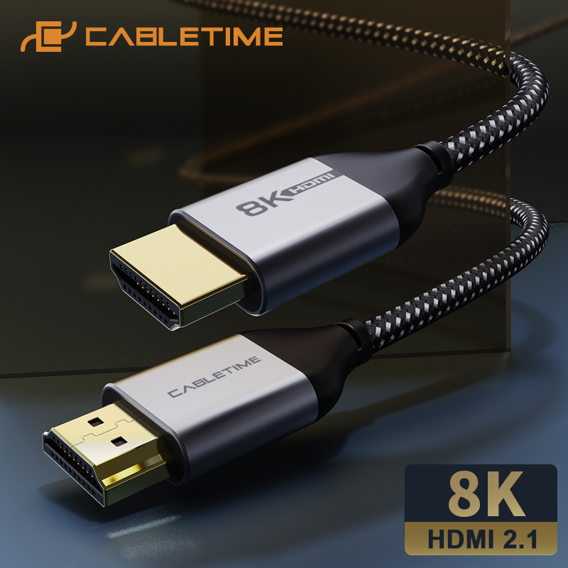 Cabletime 8 hdmi 2.1 ケーブル 8 18k/60hz 4 18k/144hz 48 5gbpsの超スリム同軸hdmi PS4 macbook airハイビジョンテレビ 8 hdmi C326
