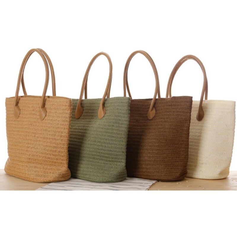 European Style Straw Bag Shoulder Bag Fashion Simple Travel Beach Woven Women Bag