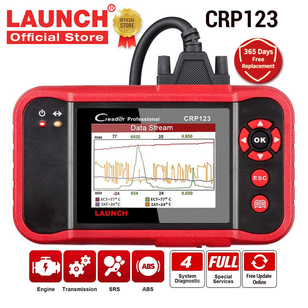 LAUNCH X431 CRP123 OBD2 EOBD automotive scanner ABS Airbag SRS Transmission Engine Car Diagnostic Tools Multilingual free update