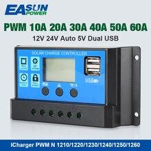 Источник питания Easun Солнечный контроллер 12 В/24 В 60A 50A 40A 30A 20A 10A солнечный регулятор PWM зарядное устройство ЖК-дисплей двойной USB 5 В выход