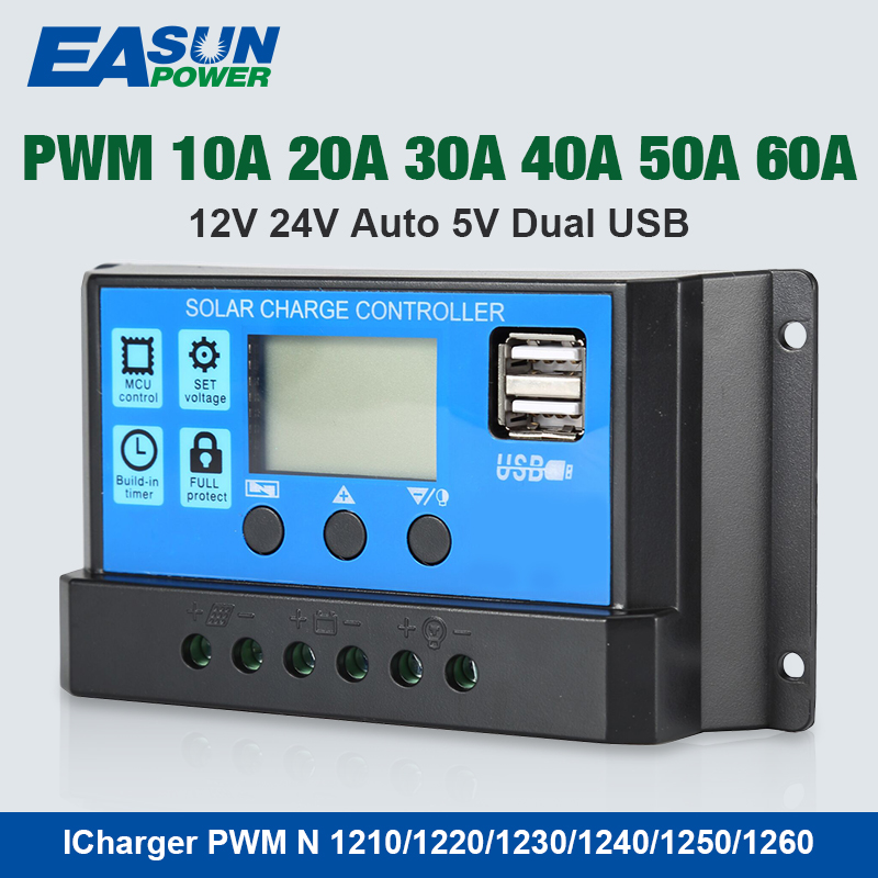 EPEVER 10A 20A 30A 60A LCD PWM Solar Charge Controller 12V 24V AUTO USB