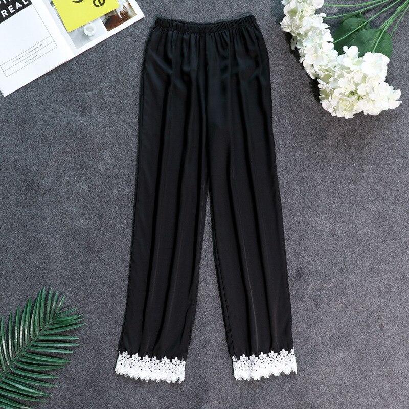 Осенние женские атласные пижамные штаны Свободные повседневные пижамы одежда для сна штаны для отдыха домашняя одежда - Цвет: black C