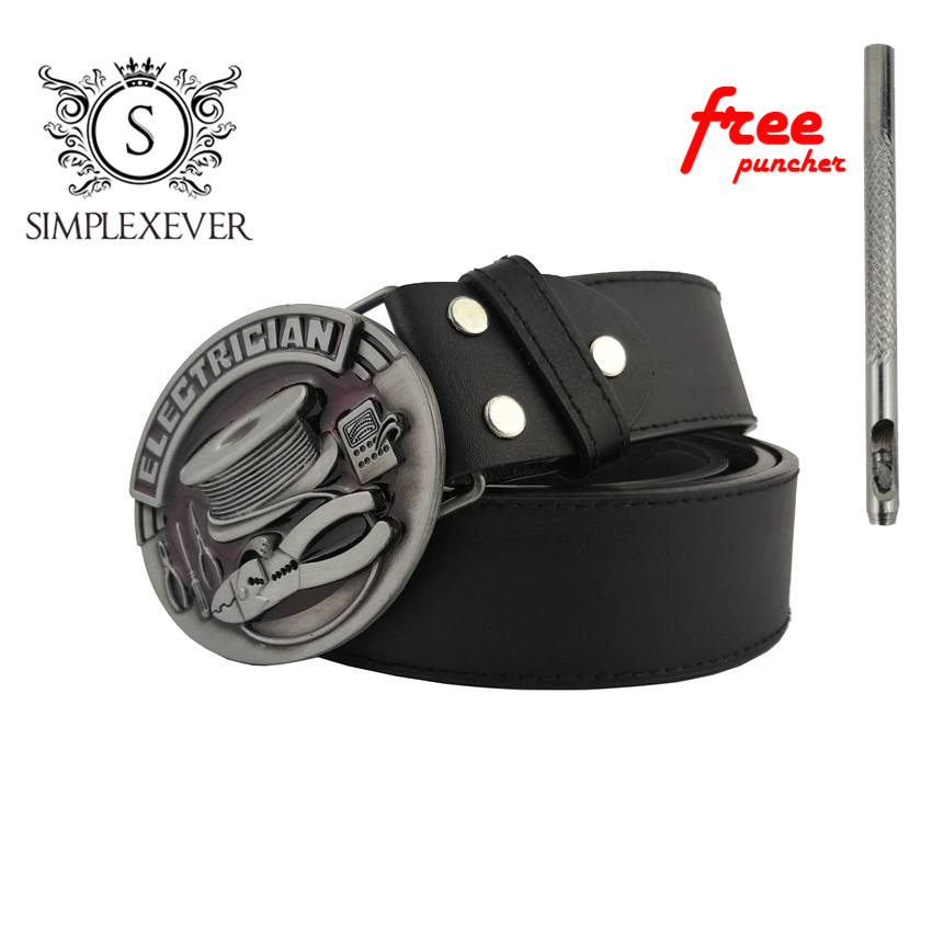 Oval Men's Belt Buckle Metal Tools ELECTRICIAN Belt Buckle Head Suit For 3.8-4cm Belt