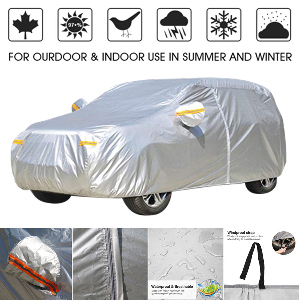 Grey, M NEVERLAND SUV Car Covers Four Layers Waterproof Outdoor Sun UV Pretection Universal Storage Car Cover 177 L x 72.8 W x 65 H Free Windproof Strap /& Anti-Theft Lock