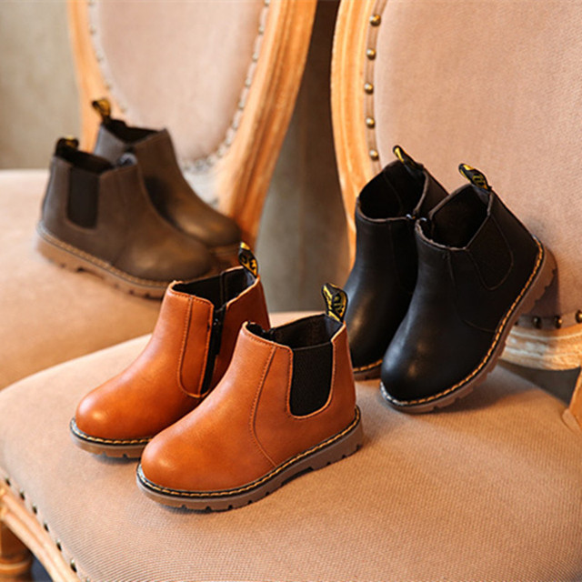 Kids Autumn Baby Boys Oxford Shoes For Children cool Boots Girls Fashion Martin Boots Toddler Ieather Boots Black Brown Gray