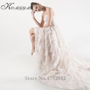 Image 3 - Lace Appliques Tulle A Line Wedding Dress Vestidos De Novia 2019 Elegant Strapless Robe De Mariée A Line Bridal Gown