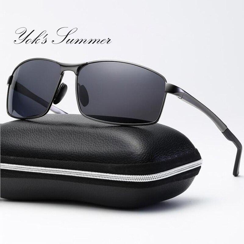 YOK'S Rectangle Polarized Sunglasses Man Photochromic Driving Goggles Sun Glasses Chameleon UV400 Oculos With Hard Case HN1168