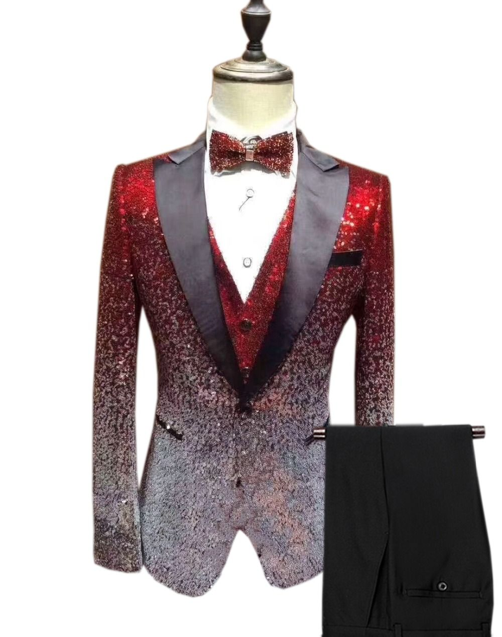 3 Pieces Men Suits Sequins Material And Black Groom Tuxedos Peak Lapel Groomsmen Wedding Best Man ( Jacket+Pants+Tie ) C761