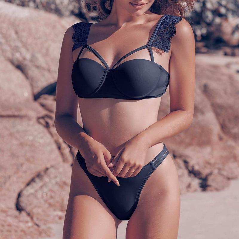 Black Lace Up Underwired Ruffled Bikini 2020 Push Up Swimsuit Women Swimwear Female Bandeau Bikini Set With Bra Cup Bathing Suit
