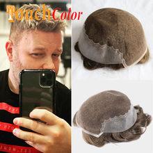 Perruque Lace & Pu Base Wig pour homme, postiche en cheveux naturels Remy, avec système de noeuds blanchis, prothèse capillaire, toupet, Q6