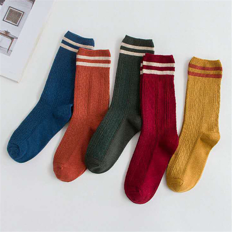 Fashion Striped Long Socks Women Cotton Sock Japanese High School Girls Cute Socks Winter Thick Sock Casual Warm Long Socks New