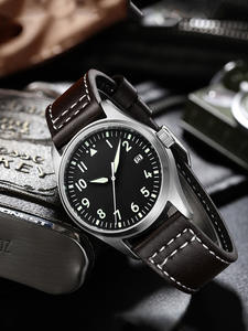 Men's Watch Nh35 Pilot Stainless-Steel Sapphire Automatic Mechanical Waterproof Crystal