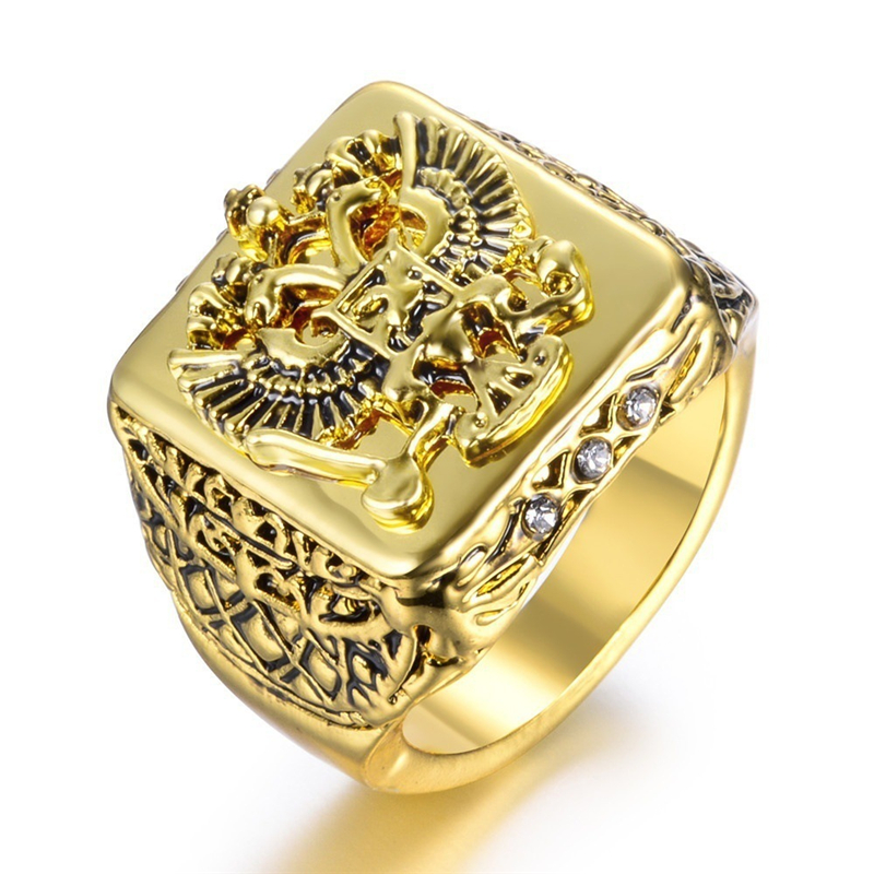 Carofeez Fashion Gold Color Men's Ring Punk Double Eagle Rings For Men Anniversary Gift Banquet Party Band Rings