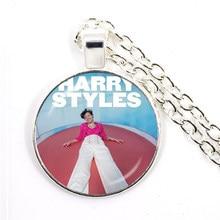 Harry styles love on tour 2020 linha fina prata-banhado pingente colar 25mm de vidro cabochão jóias para mulheres fãs presente