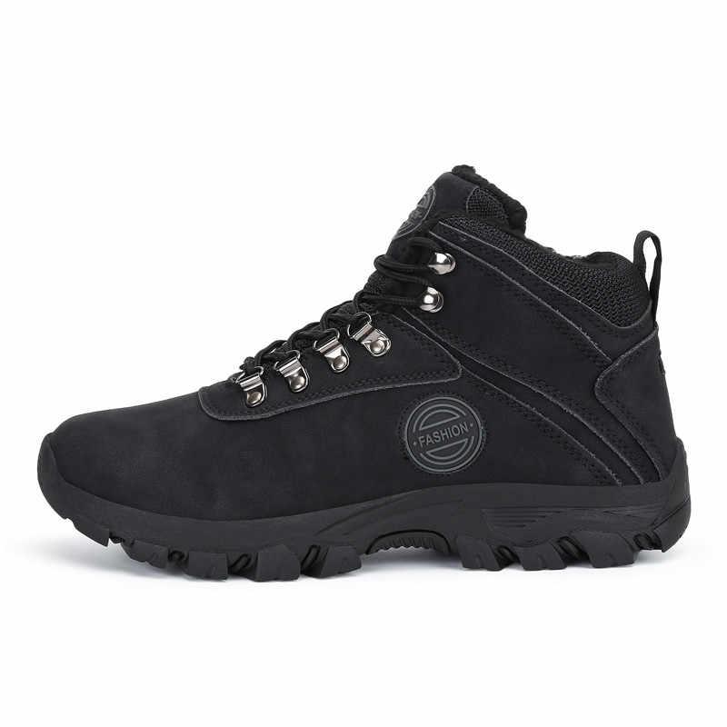 Kış ayakkabı erkekler kar botları açık sıcak peluş akın deri patik erkek yarım çizmeler adam açık spor ayakkabı düz Platform Botas