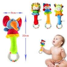 새로운 디자인 봉제 아기 장난감 동물 손 종 아기 딸랑이 장난감 고품질 Newbron 선물 동물 스타일 유모차 장난감