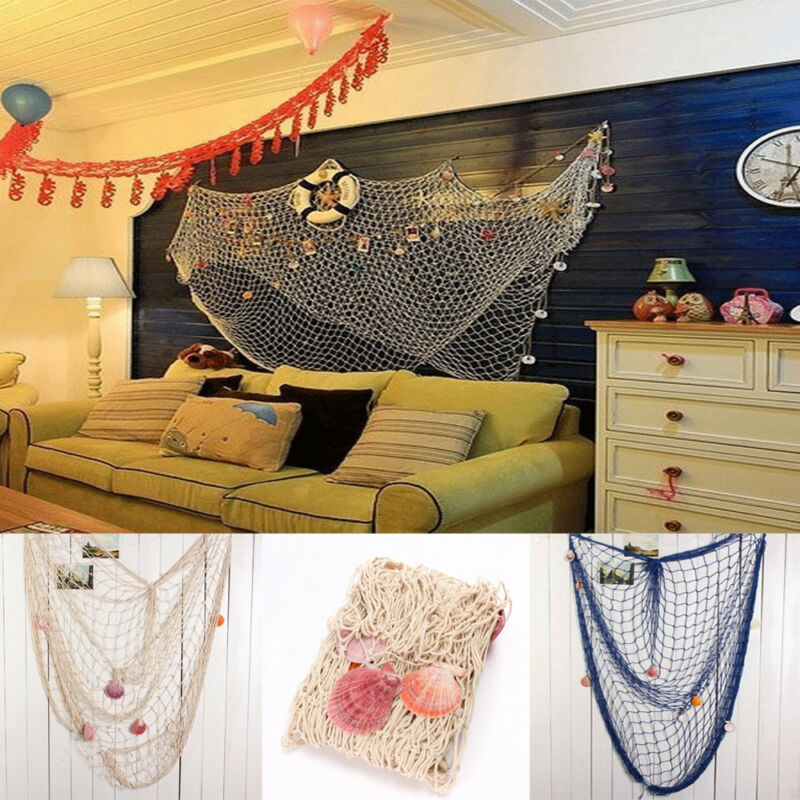 Boho Style Fishing Net Wall Decor Hemp Rope Door Hanging Home Mural Nautical Decorative Seaside Beach Shell Party Decoration