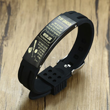 Personalized Stainless Steel ID Tag Silicone Bracelet for Men Boyfriend Adjustable Wristband Gift for His Jewelry(China)