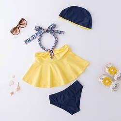 Раздельный купальник для девочек желтый с высокой горловиной слинг головной убор-комплект из 3 предметов, детский осенний популярный