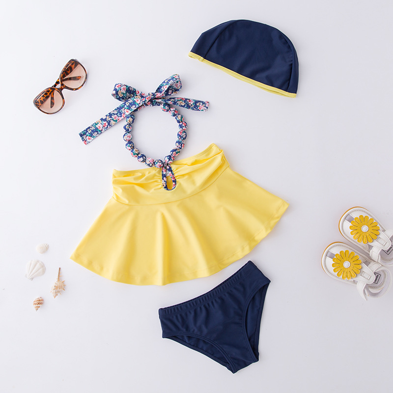 Girls' Two-piece Swimsuit Yellow Neck Sling Hat-3 Pieces Children Hot Springs Tour Bathing Suit
