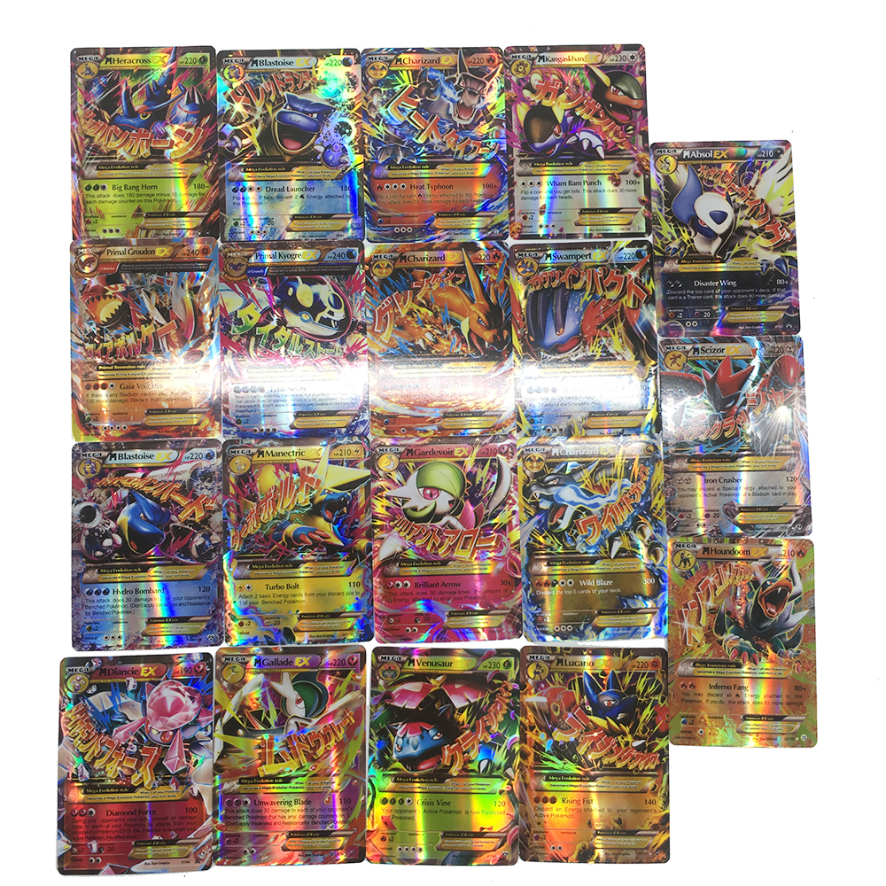 Takara Tomy Pokemon 100PCS GX MEGA Trainer Energy Flash Card Sword Shield Sun Moon Card Collections Christmas Gifts Kids Toy