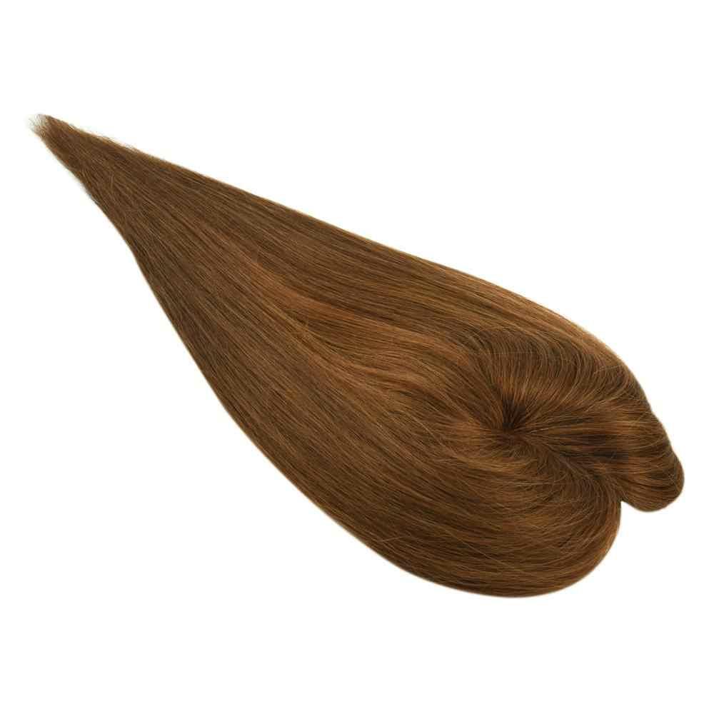 """Mw Pu + Zijde Basis Haar Pruik Topper Menselijk Haar Stukken Voor Vrouwen 4*3 """"Bruin Blond Kleur 150% Dichtheid 3 Clips Bevestigd Haar Pruiken"""
