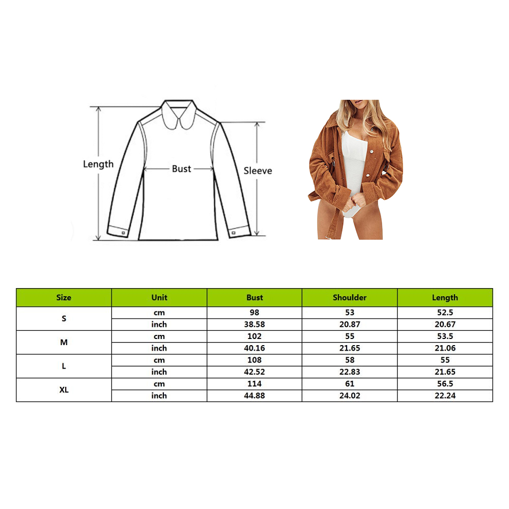 2019 Autumn New Women Corduroy Thin Slim Coat Short Jacket Ring Pocket Retro Cool Belted Solid  Loose Long Sleeve Tops Outwear