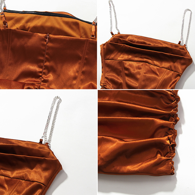 Townlike Pleated Sling Bodycon Bandage Dress Women Midi Diamond Sexy Party Dresses 2020 Satin Strapless Summer Dresses Vestidos 6