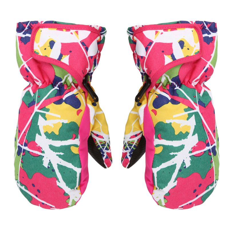 Windproof Waterproof Kids Winter Warm Mittens Children Boys Girls Breathable Ski Snowboard Gloves Y4UB