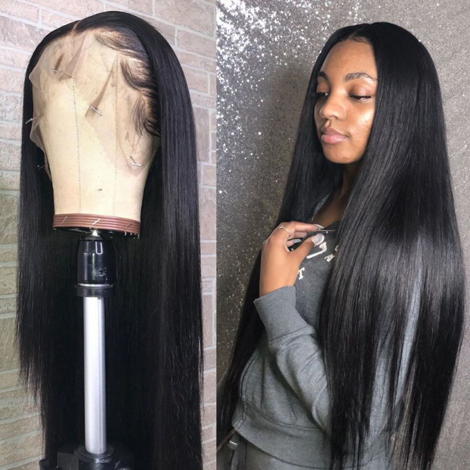 Brazilian 13x6 Lace Front Human Hair Wigs For Women Pre Plucked Natural Wig With Bleached Knots Remy Straight Human Hair Wigs(China)