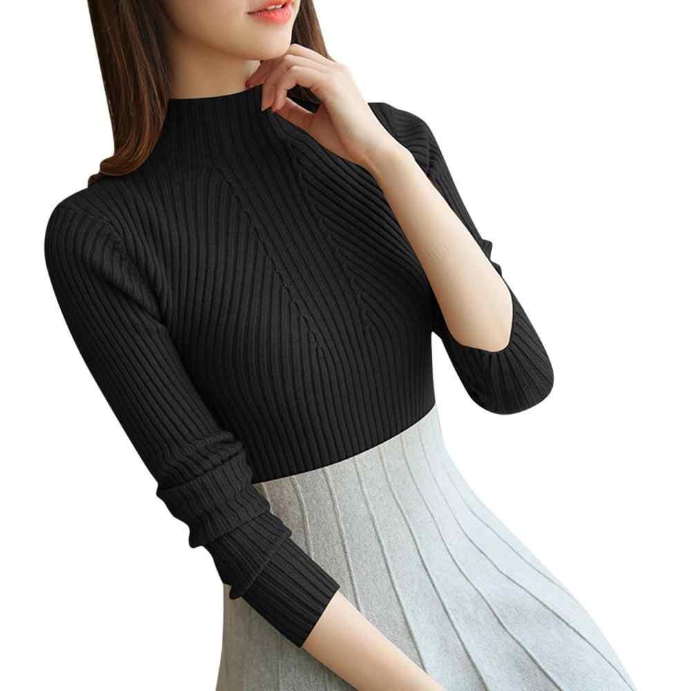 6 สีฤดูใบไม้ร่วง 2019 เสื้อกันหนาวผู้หญิงสูงยืดหยุ่นสูงคอหญิงเซ็กซี่เซ็กซี่ Bodycon ถัก Pullover