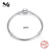Hot sale SG 20cm Snake Chain real 925 Sterling Silver original Charms Bracelet luxury Fashion diy Jewelry making for women gifts