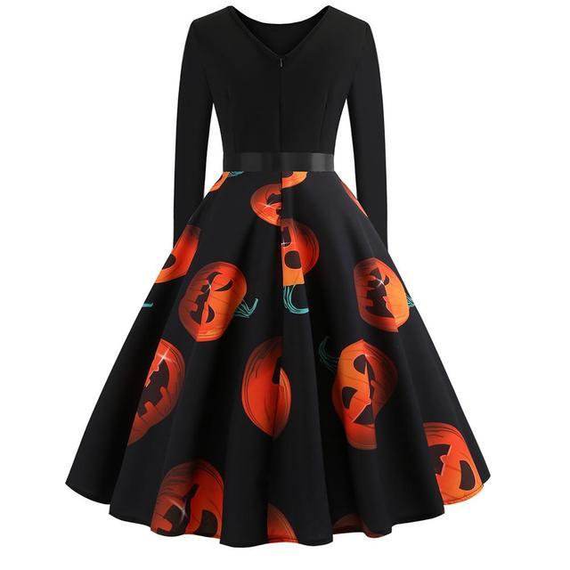 Halloween Pumpkin Dress Size S to 2XL