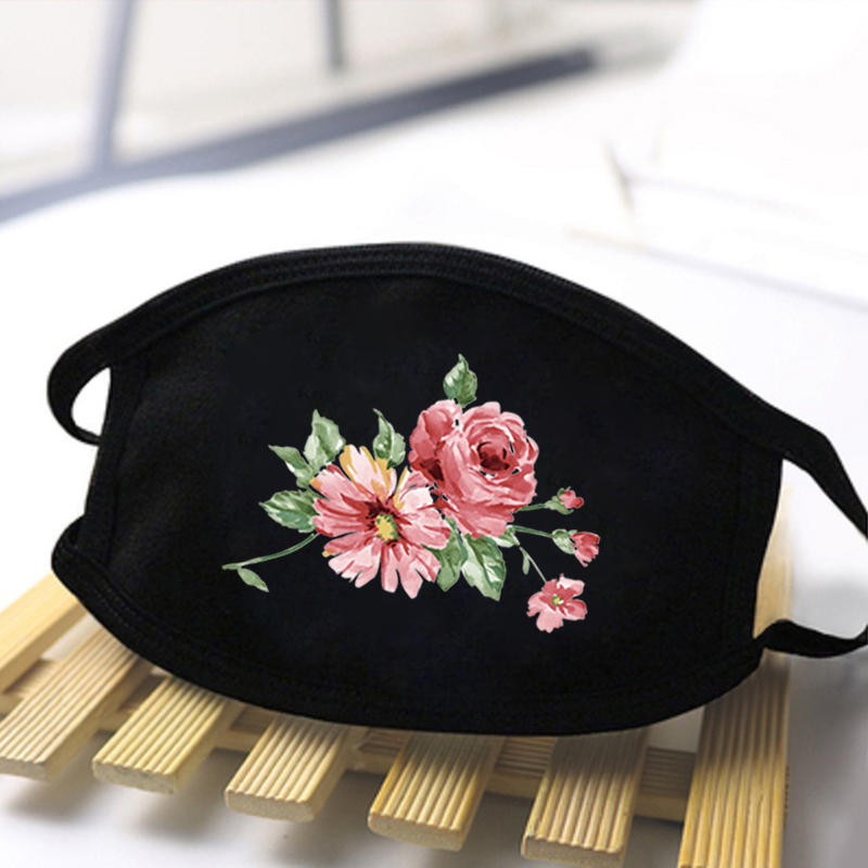 Rose Cartoon Lovely Masks Festive Party Cute Flower Print Decorate Masks Anti Dust Mouth Muffle Respirato Black Casual Masks